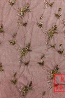SALE PIECE Beaded Embroidered Tulle in Wine and Gold0