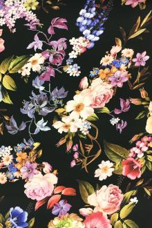 Printed Silk Crepe with Tropical Florals0