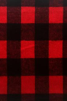 Polyester Buffalo Check in Black and Red0