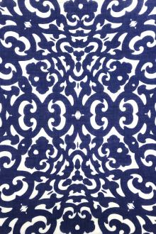 Cotton Voile Ornamental Print in White and Blue0