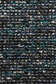 Italian Cotton Rayon Metallic Tweed in Blues0