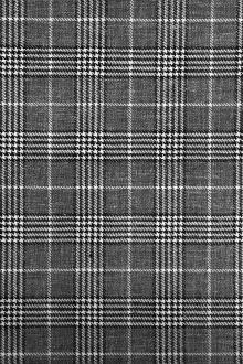 Italian Silk Linen Wool Blend Plaid in Graphite0