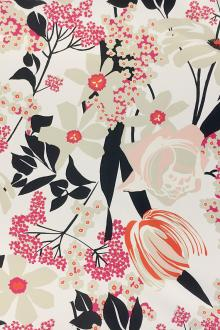 Printed Silk Mikado with Graphic Floral Print0