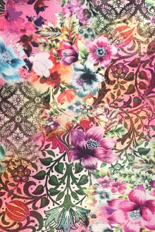 Italian Viscose Lycra Jersey Floral Collage0