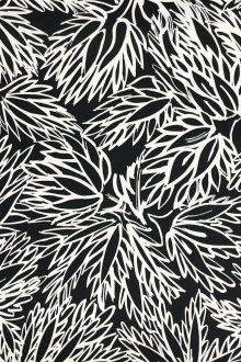Printed Cotton Viscose Faille with Sketched Black and White Leaves0