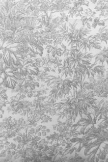 Cotton Broadcloth White And Grey Chinoiserie Print 0