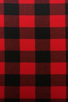 Cotton Mammoth Flannel Check in Red and Black0