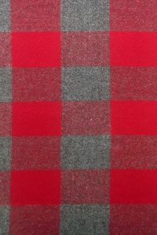 Cotton Mammoth Flannel Check in Red and Grey0