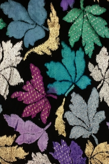 Silk Lurex Burnout Velvet with Leaves Motif0