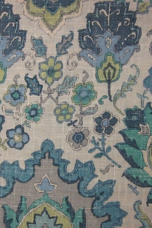 Linen Blend Upholstery Turkish Floral Print 0