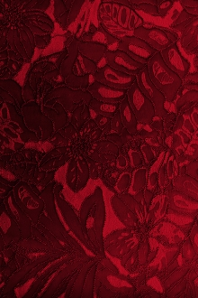 Stretch Brocade with Tropical Leaves and Floral Motifs0