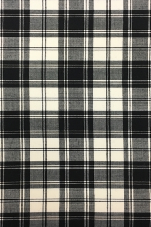 Black and White Superfine Wool Tartan Plaid 0