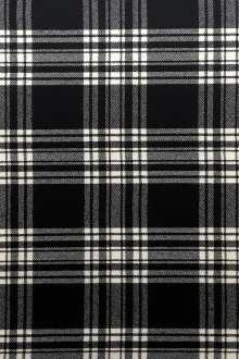 Italian Virgin Wool Black and White Tartan Plaid0