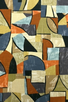 Cotton Canvas Upholstery Geometric Print0