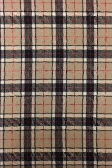 Italian Stretch Wool Tartan Plaid in Tan0