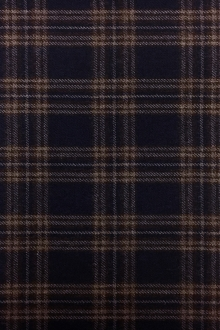 Italian Virgin Wool Tartan Plaid in Navy and Brown0