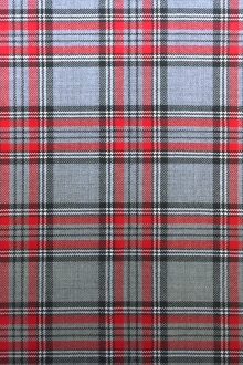 Italian Virgin Wool Tartan Plaid in Grey and Red0