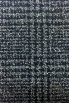 Italian Alpaca Boucle Plaid in Grey and Navy0