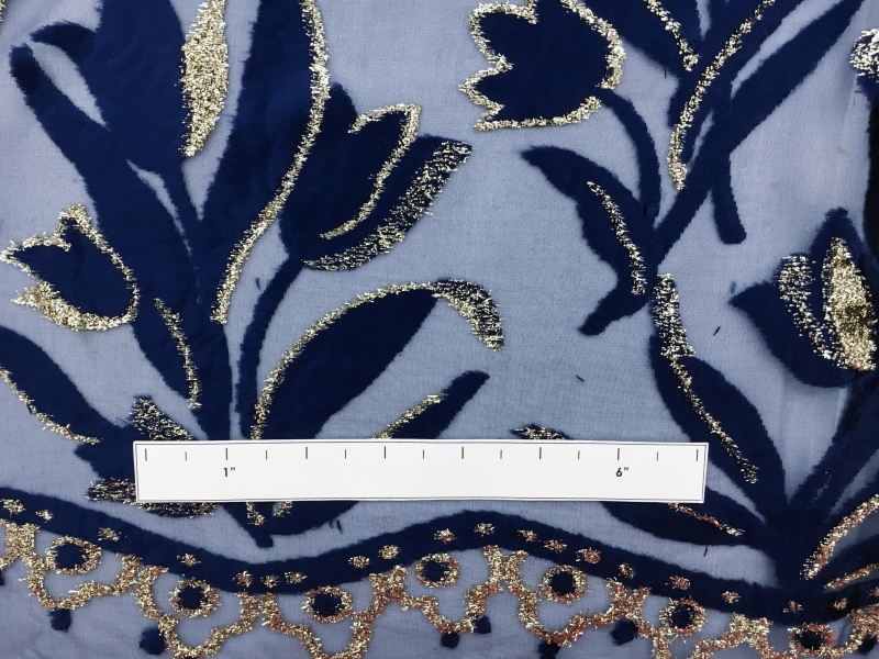 French Silk and Lurex Burnout Velvet with a Floral Border and Leaves1