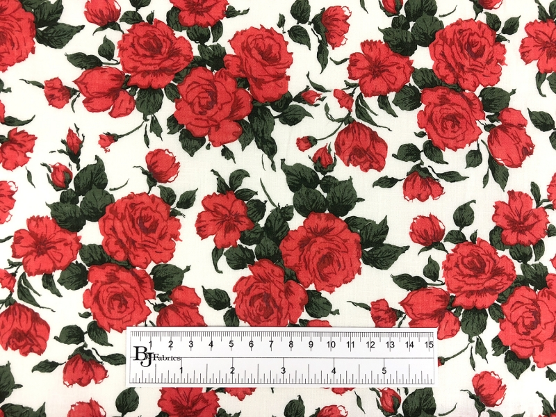 Liberty of London Linen Cotton Red Roses Print 3