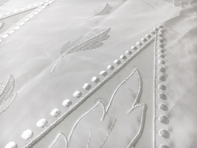 Bridal Taffeta with Embroidered Geometric Patterns and Leaves Border2