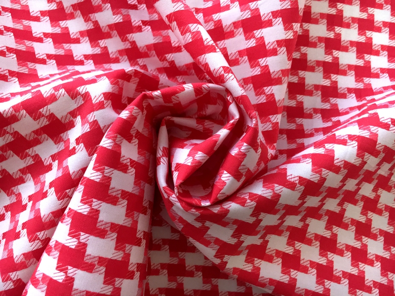 Italian Cotton Houndstooth Shirting in Vermilion1