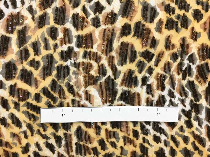 REDUCED Leopard Print Silk Chiffon with Hand Beaded Bugle Beads and Sequins1