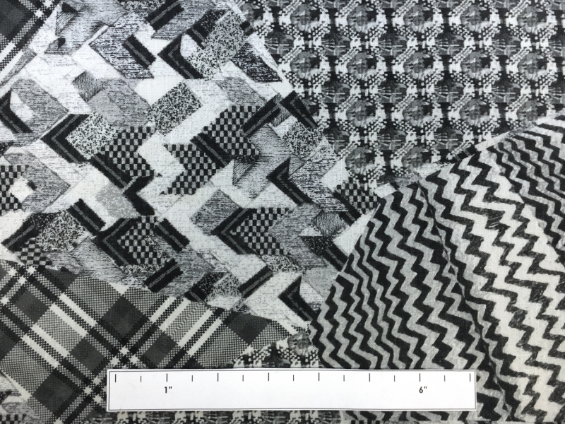 Handkerchief Linen Black And White Collage Digital Print3