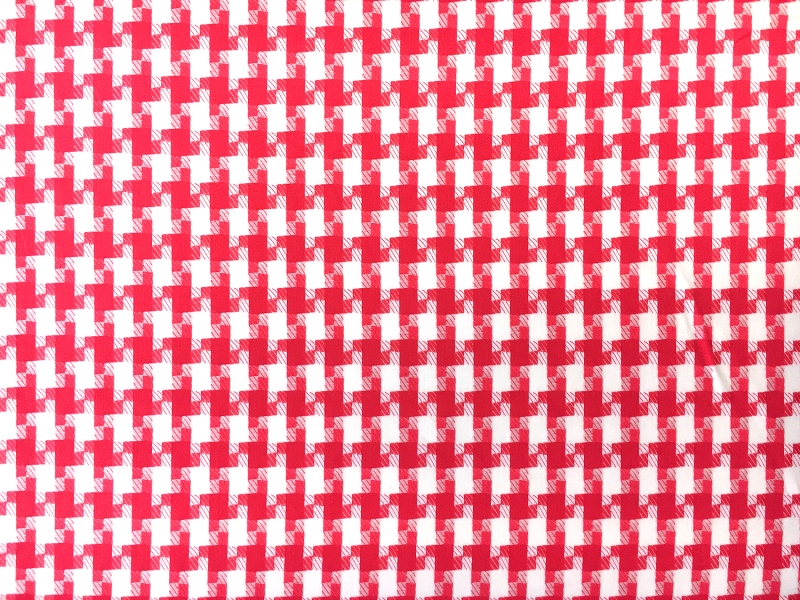 Italian Cotton Houndstooth Shirting in Vermilion0