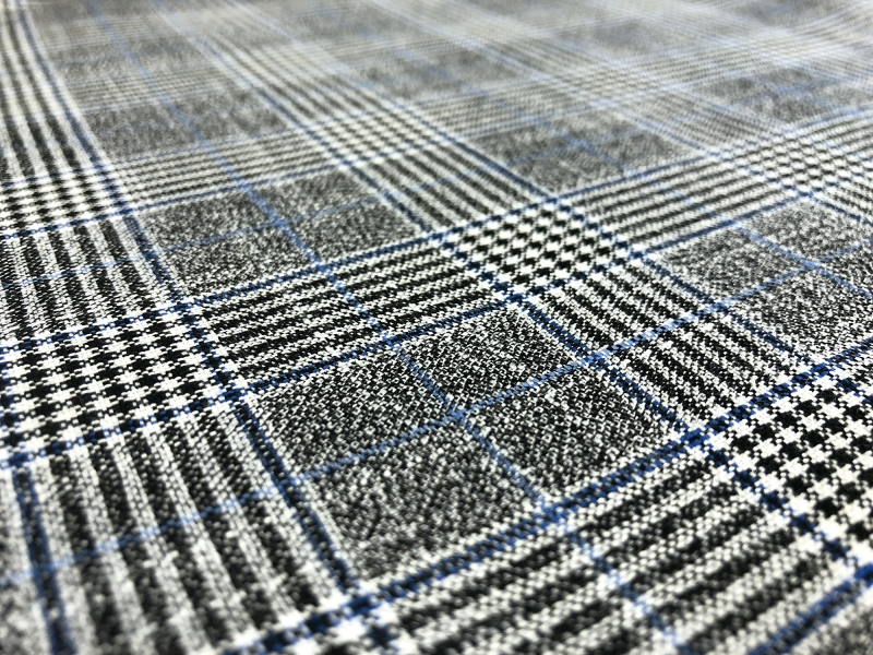 Fine Bamboo Plaid Suiting in Grey and Blue2