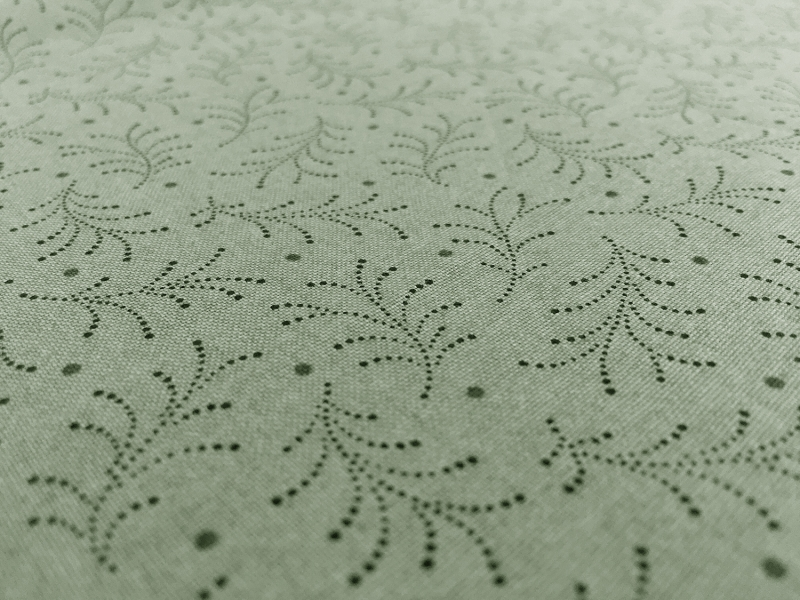 Cotton Print With Stippling Leaves Pattern2