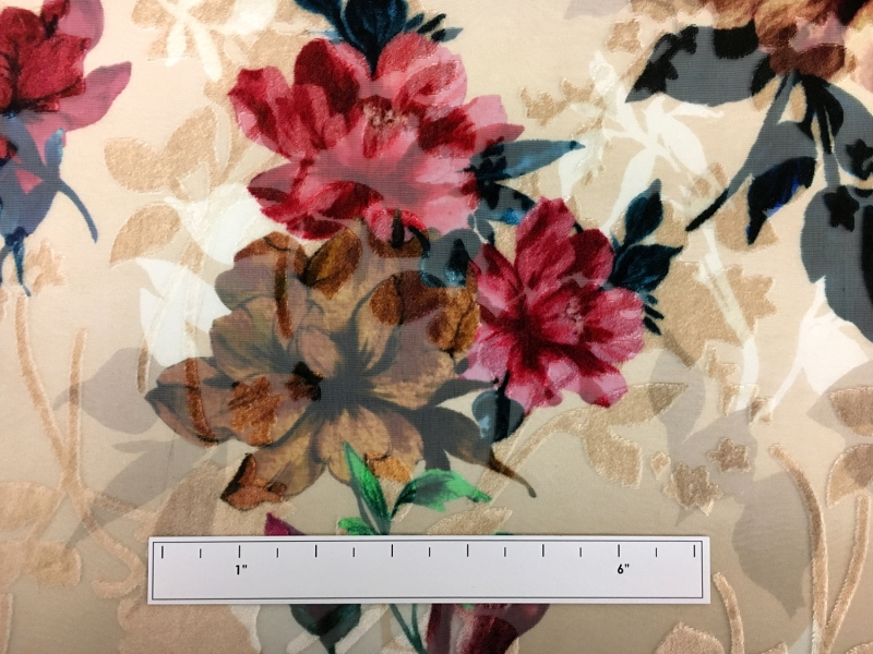 Italian Silk Rayon Burnout Velvet With Floral Motif2