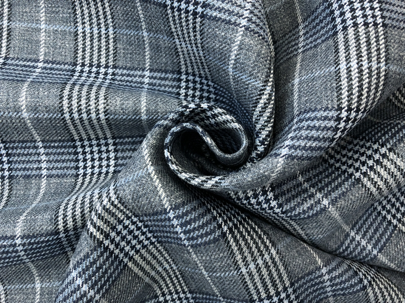 Silk Linen Wool Plaid Suiting in Grey and Blue1