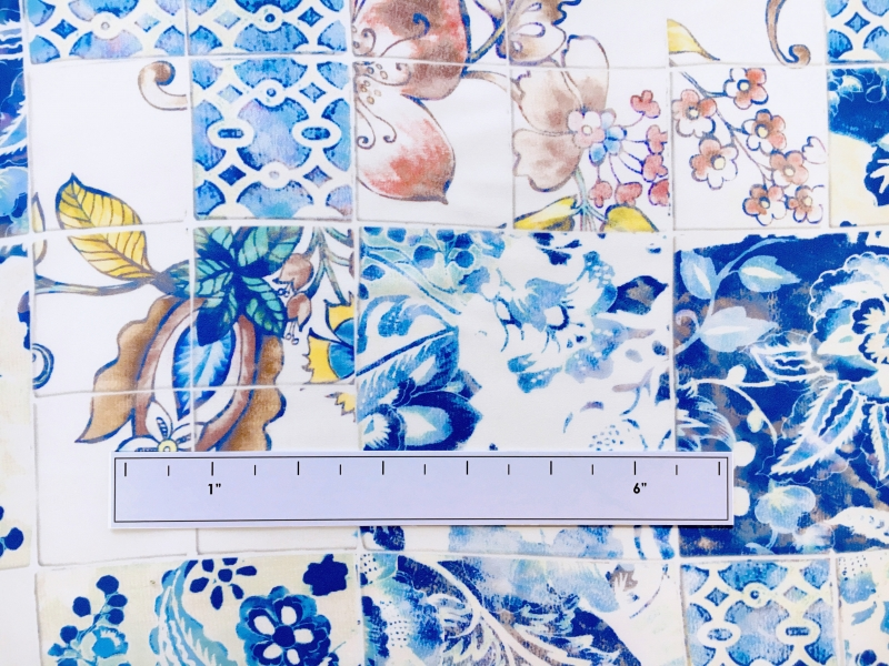 Printed Silk Charmeuse with Ornate Italian Tile Patterns1