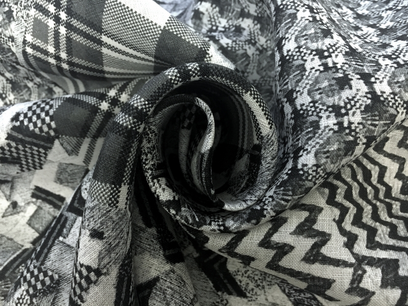Handkerchief Linen Black And White Collage Digital Print1