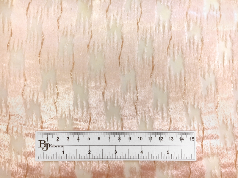 Peach Silk Lurex Burnout Velvet with Abstract Brushstrokes3