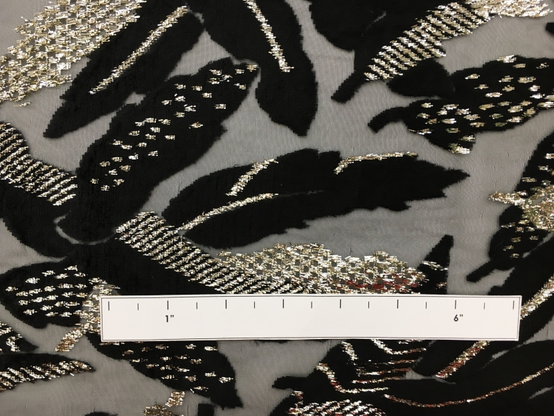Polyester and Lurex Burnout Velvet with Large Leaves1