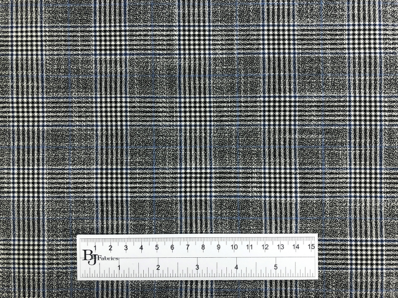 Fine Bamboo Plaid Suiting in Grey and Blue3