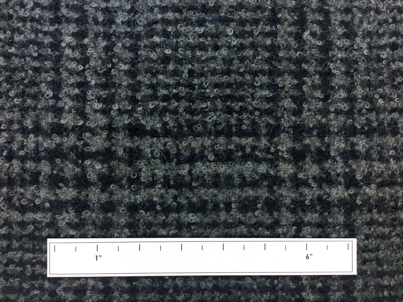 Italian Alpaca Boucle Plaid in Grey and Navy2