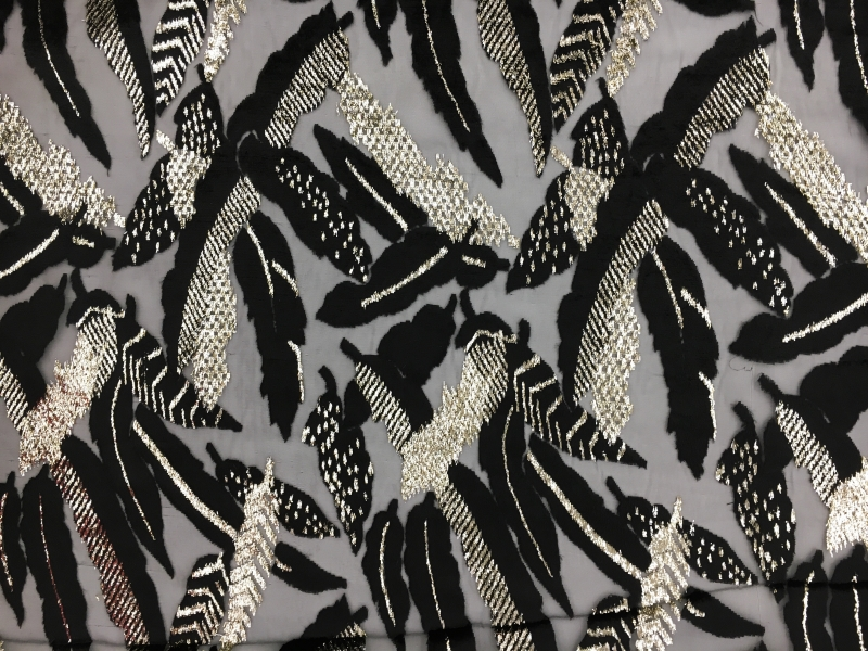 Polyester and Lurex Burnout Velvet with Large Leaves0