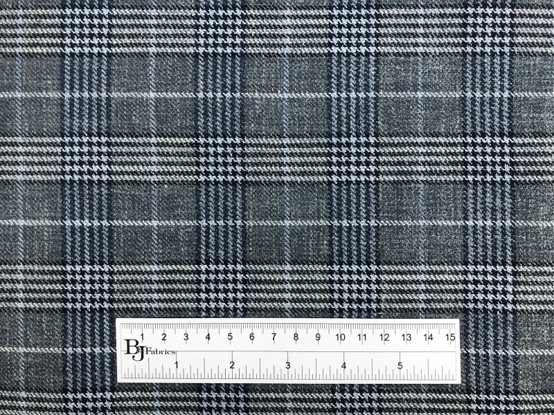 Silk Linen Wool Plaid Suiting in Grey and Blue3