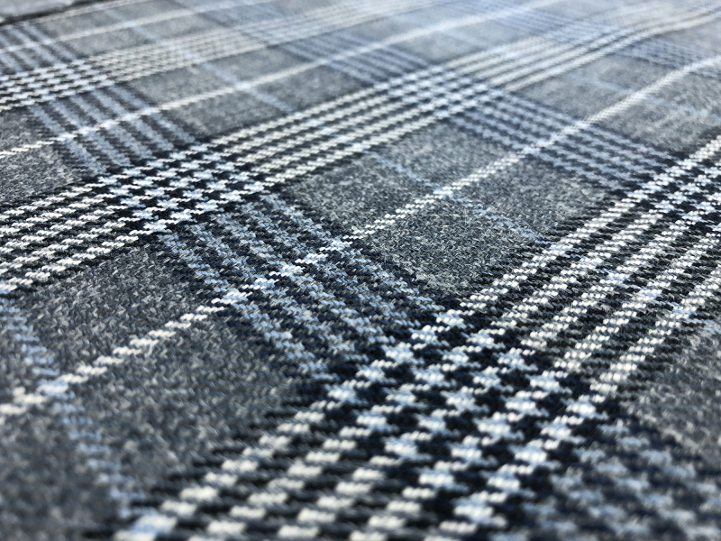 Silk Linen Wool Plaid Suiting in Grey and Blue2