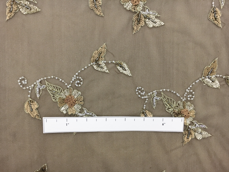 REDUCED Beaded Floral Motifs on Brown Tulle1