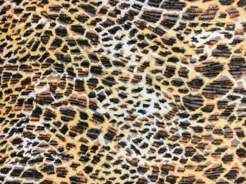 REDUCED Leopard Print Silk Chiffon with Hand Beaded Bugle Beads and Sequins0