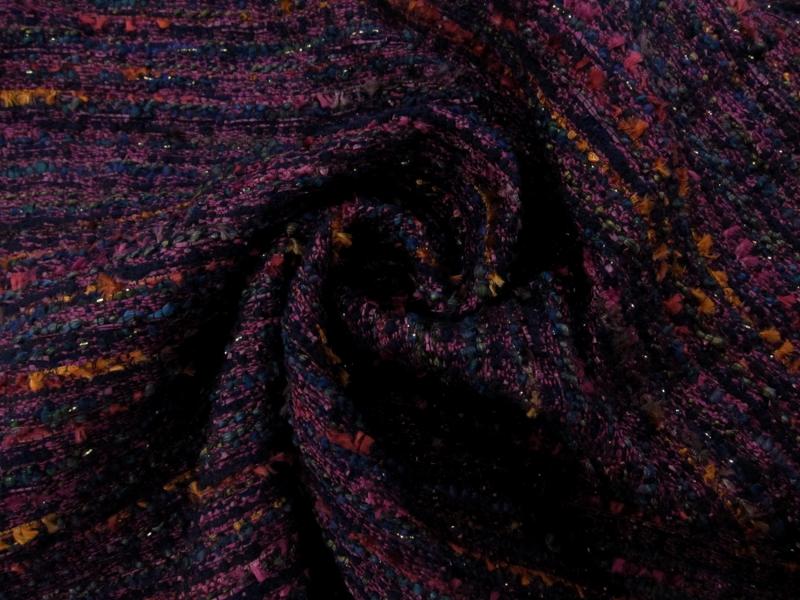 Metallic Tweed In Magenta B J Fabrics