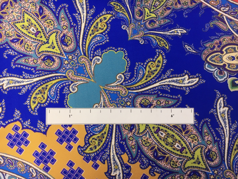Printed Silk Twill with Large Mixed Paisley and Floral Patterns1