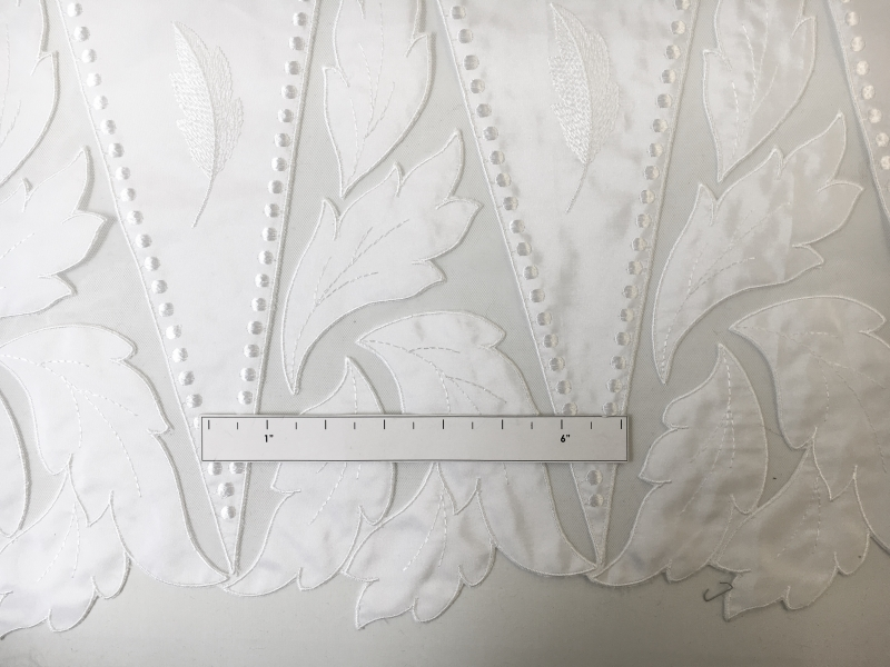 Bridal Taffeta with Embroidered Geometric Patterns and Leaves Border1