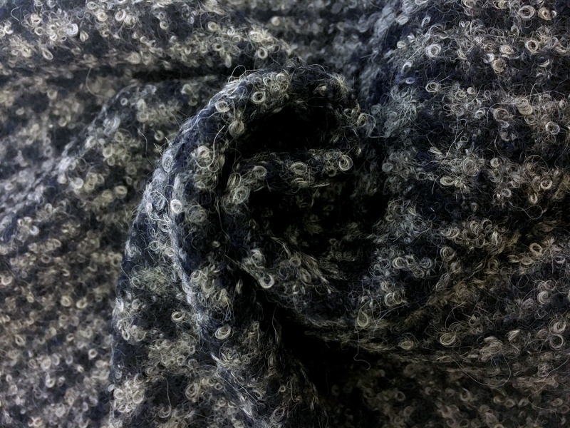 Italian Alpaca Boucle Plaid in Grey and Navy1