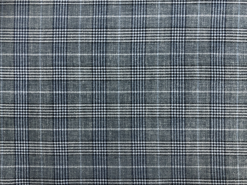 Silk Linen Wool Plaid Suiting in Grey and Blue0