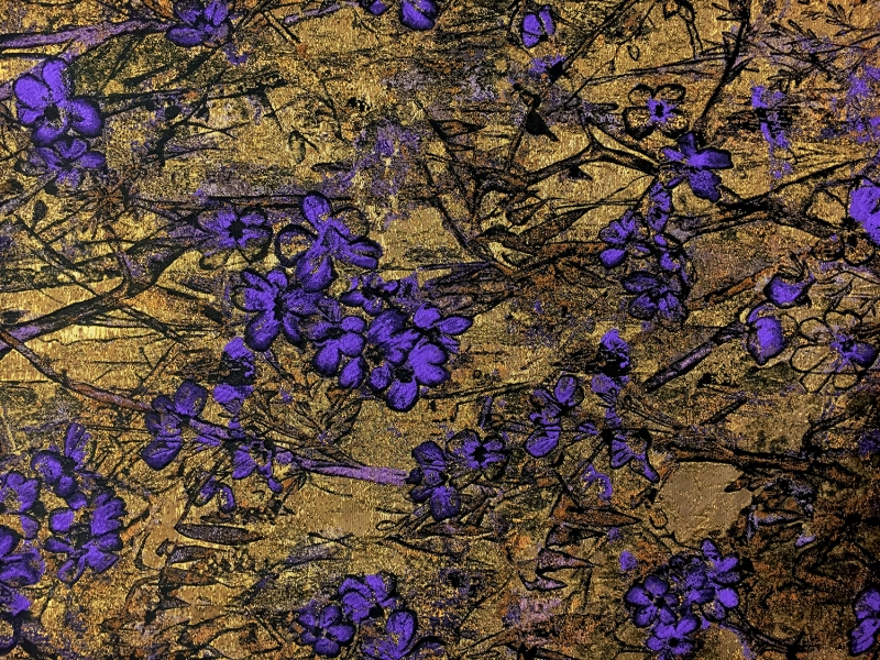 antique gold floral brocade fabric with violet flowers b j fabrics